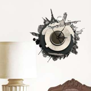 3d wall sticker clock world earth wall decal(cod available)