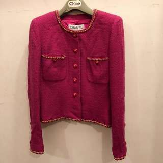 Chanel fuchsia tweed chain jacket 外套