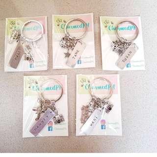 Personalized handstamped keychains