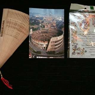 Vatican Blessed Pearl Rosary with Postcard and Barcelona wooden fan