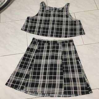 Black And White Checkered Grid Plaid Sleeveless Top + Skirt @ $9