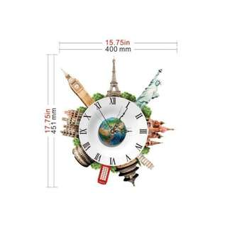 World earth clock sticker wall decal