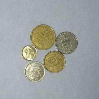 西班牙硬幣五個