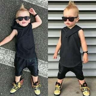 Baby Boy Hooded Sleeveless Top+Pants 2pcs Set