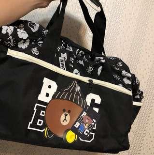 Line熊大旅行袋黑色