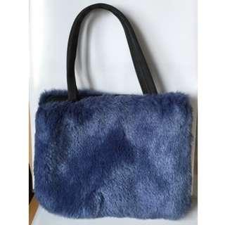 Blue fur bag
