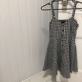 Gingham button down skater dress 6 xs worn once