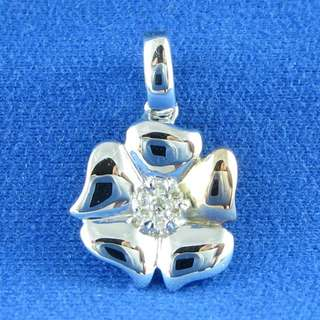 KALVION 14K/585 白及玫瑰色黃金鑽石吊墜 ‧ 梅花