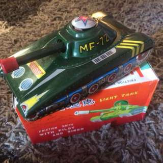 Vintage Tin Toy Tank Antik