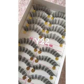 false eyelashes in different styles  ..  per box 80 pesos