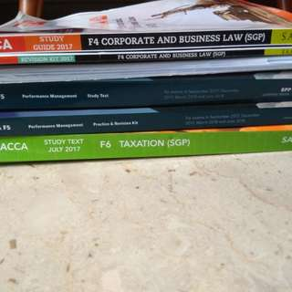 ACCA F4, F5, F6 study text, revison kit and study notes(extra question)