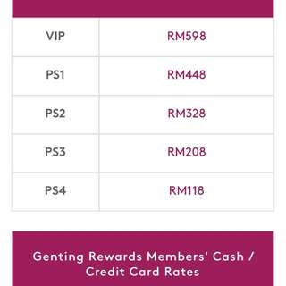陈宝珠云顶演唱会票两张PS3x2 buy one free one