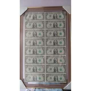舊版一元美金全版 連相框