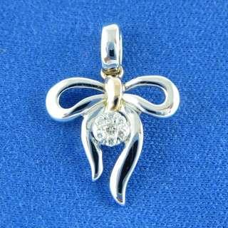 KALVION 14K/585 白及玫瑰色黃金鑽石吊墜 ‧ 蝴蝶結