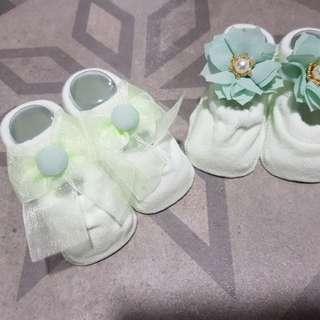 Baby Booties non slip green