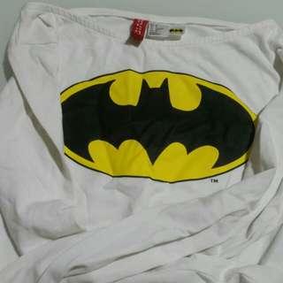 H&M BATMAN LONG SLEEVE CROP TOP