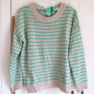 降↓↓↓少見綠色背後緞帶蝴蝶結條紋厚實毛衣