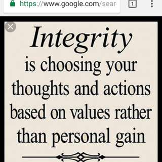 Please be integrity!!