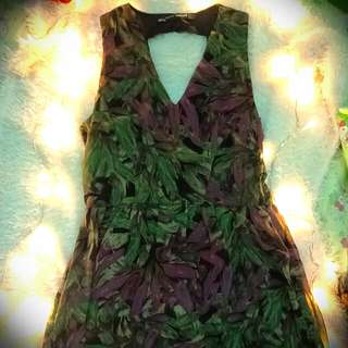 Green and Violet Dress (above the knee level)
