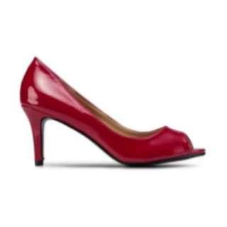 Peep Toe Patent Heels (Red)
