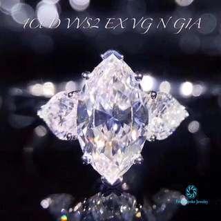 18K 白金馬眼鑽石戒指