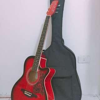 🚚 SX 台灣知名品牌  經典花紋款  質感紅 custom guitar木吉他 ❤️附贈吉他背包