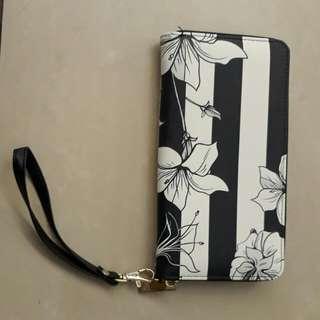 Dompet wanita garis2 bunga import
