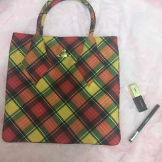 Authentic Vivienne Westwood plaid tote Free YSL