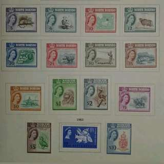 North Borneo 1961 1963 Queen Elizabeth II Complete Two Set - 17v MLH Malaya Stamps