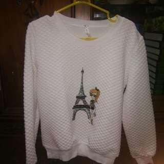 Sweater warna putih bahan tebal paris