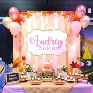 Rustic Woodland Fairy Theme Dessert Buffet Table
