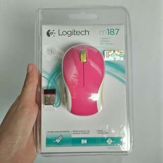 Mouse Logitech m187 wireless mini mouse hot pink