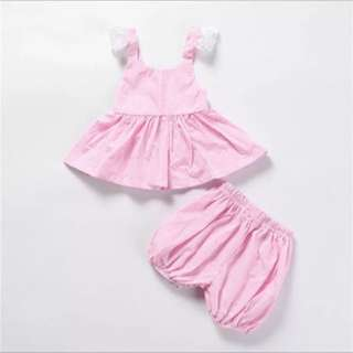 BN Pink Strip 2pc Lace Set