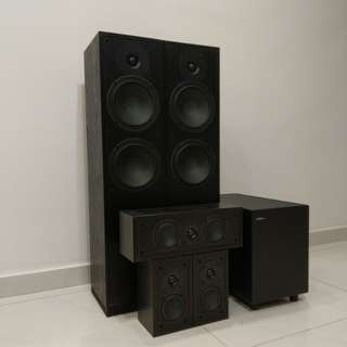 Jamo 5.1 Floor Standing Speakers System Subwoofer Blu-ray Player
