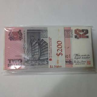 Singapore $2 Ship Notes One Stack Unc 100 Pieces