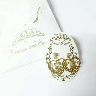 [2月日本代購團] 日本 princess one spoon - 美女與野獸玫瑰花心型耳環/耳夾