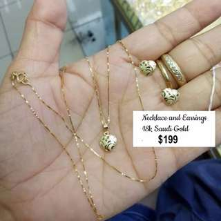 18K Saudi Gold Necklace and Earring Set