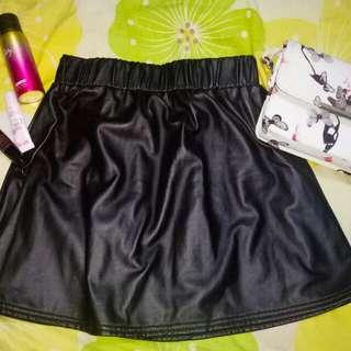 REPRICED: Black Leather Skirt