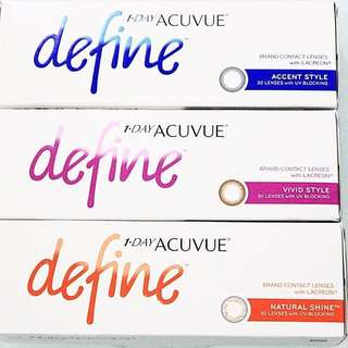 Acuvue Define daily disposable contact lens