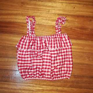 Red Gingham Print Cropped Top
