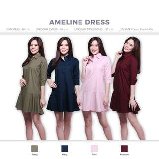 Ameline Dress (Rok Kemeja Baju Blouse)