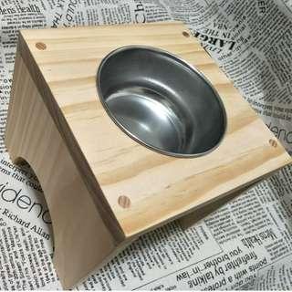 【想享工坊】中小型犬用狗餐桌(含白鐵碗) 減輕狗狗關節與肌肉的負擔 原木紐西蘭杉木 手工製作