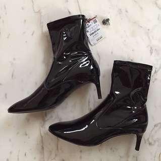 Zara Patent Kitten Heel Boots