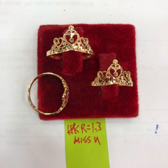 18k saudi gold crown ring