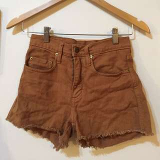 Rusty coloured denim shorts