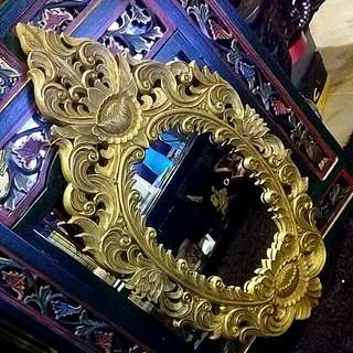 Solid Wood Carved Vintage Mirror Painted Gold