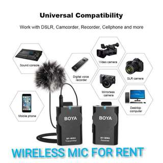 FOR RENT - BOYA WIRELESS MICROPHONE