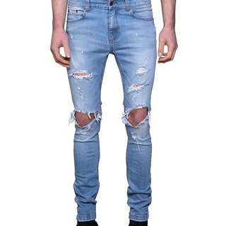 1990 DESTROYED SKINNY JEAN - FADED BLUE