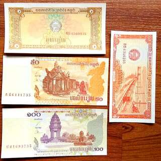 World Banknotes 1997,2001,2002 0.50,1,50,100 Duit Ketas / Currency Money 4 Banknote Selling RM 15.00