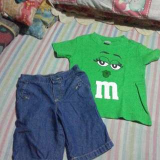 Denim shorts & m&m tshirt